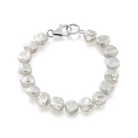 White Keshi Freshwater Pearl Bracelet with Sterling Silver