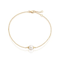 Classic Single Freshwater Pearl Bracelet with Yellow Gold Chain