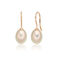 Pink Freshwater Pearl Huggie Hook Earrings in Rose Gold