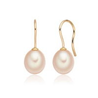 Apricot Freshwater Pearl Huggie Hook Earrings in Yellow Gold