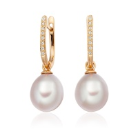 Rose Gold Diamond Leverback And Pink Freshwater Pearl Earrings