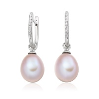 White Gold Diamond Leverback And Pink Freshwater Pearl Earrings