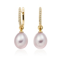 Yellow Gold Diamond Leverback And Pink Freshwater Pearl Earrings