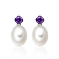 Lief Amethyst Earrings in White Gold with Freshwater Pearls