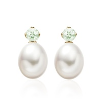 Lief Green Beryl Earrings in Yellow Gold with Freshwater Pearls