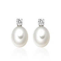 Diamond Studs in White Gold with White Freshwater Pearls
