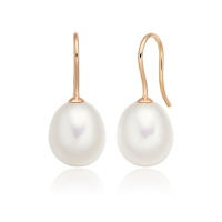 Freshwater Pearl Huggie Hook Earrings in Rose Gold