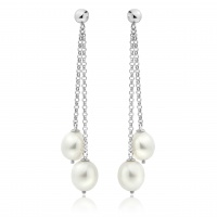 White Freshwater Pearl Waterfall Earrings in Silver