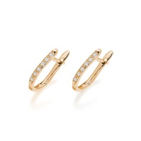 Rose Gold Diamond Huggie Leverback Earrings