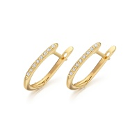Yellow Gold Diamond Leverback Earrings