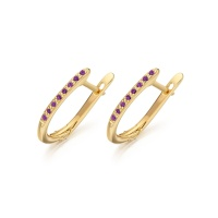 Pink Diamond Leverback Earrings in Yellow Gold