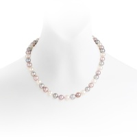 White, Pink and Grey Freshwater Pearl Necklace with Silver