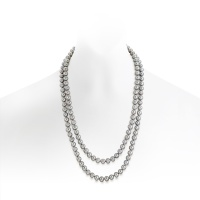Grey Freshwater Pearl Rope Necklace in Silver