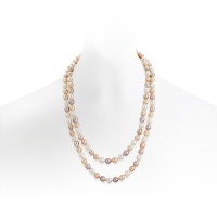 Long Multi-coloured Oval Freshwater Pearl Necklace with Silver
