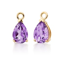Mythologie Amethyst Leverback Drops in Yellow Gold