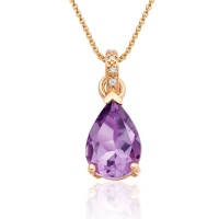 Mythologie Amethyst and Diamond Pendant in Rose Gold