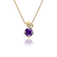 Lief Amethyst Pendant in Yellow Gold