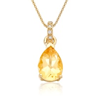 Mythologie Citrine and Diamond Pendant in Yellow Gold