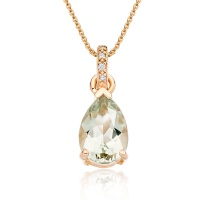 Mythologie Green Amethyst and Diamond Pendant in Rose Gold