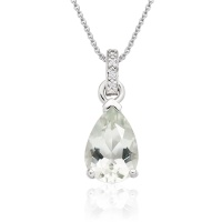 Mythologie Green Amethyst and Diamond Pendant in White Gold
