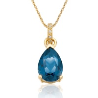 Mythologie London Blue Topaz and Diamond Pendant in Yellow Gold