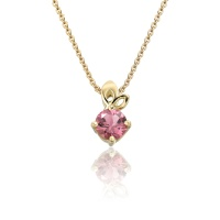 Lief Pink Tourmaline Pendant in Yellow Gold