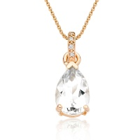 Mythologie White Topaz and Diamond Pendant in Rose Gold
