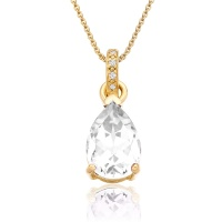 Mythologie White Topaz and Diamond Pendant in Yellow Gold