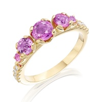Lief Pink Sapphire and Diamond Ring in Yellow Gold