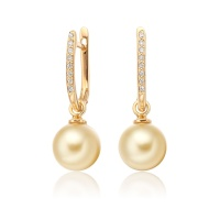 Yellow Gold Diamond Leverbacks with Golden South Sea Pearls