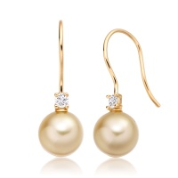 Golden South Sea Pearl and Diamond Hook Earrings in Yellow Gold