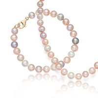 Multi-coloured Freshwater Pearl Necklace and Bracelet Set