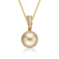 Golden South Sea Pearl and Diamond Wave Pendant in Yellow Gold