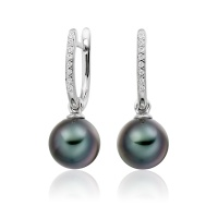 White Gold Diamond Leverback And Black Tahitian Pearl Earrings