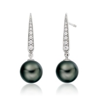 Mythologie Dark Dewdrop Tahitian Pearl Earrings in White Gold