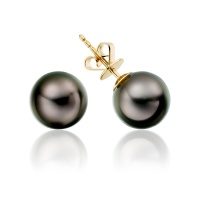 Black Tahitian Pearl Stud Earrings in Yellow Gold