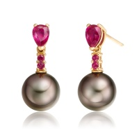 Classic Pear Drop Earrings in Ruby