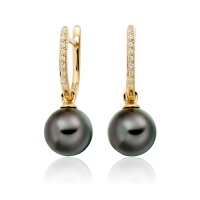 Yellow Gold Diamond Leverback And Black Tahitian Pearl Earrings