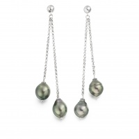 Grey Baroque Tahitian Pearl Waterfall Earrings in Silver