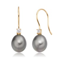 Tahitian Drop Pearl and Diamond Hook Earrings in Yellow Gold