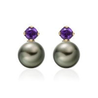 Lief Amethyst Earrings in Yellow Gold with Tahitian Pearls