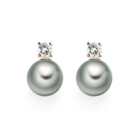 Diamond Studs in Rose Gold with Tahitian Pearls