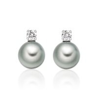 Diamond Studs in White Gold with Tahitian Pearls