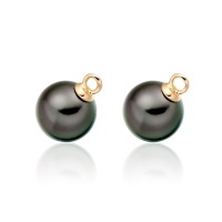 Black Tahitian Pearls for Rose Gold Diamond Leverbacks