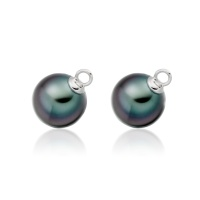 Black Tahitian Pearls for White Gold Diamond Leverbacks