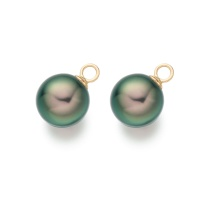 Peacock Tahitian Pearls for Yellow Gold Diamond Leverbacks
