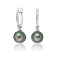 White Gold Diamond Leverbacks with Peacock Tahitian Pearls