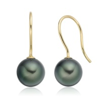 Tahitian Pearl Hook Earrings in Yellow Gold