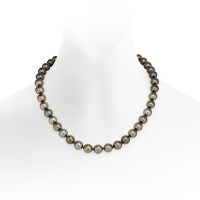 Black Tahitian Pearl Necklace in White Gold