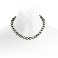 Grey Tahitian Pearl Choker Necklace with 18ct White Gold Ring Clasp